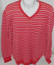 GAP Men's Red Striped Light Weight Cotton V-Neck Sweater Size XL