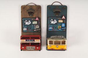 Wandflaschenöffner aus Holz+Metall in Verschiedenen Farben ca.15 x 10 x 34 cm