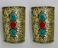 Two ( 2 )  Cuff Bracelet Tibetan Turquoise Coral Bangle Tribal Nepalese CF1