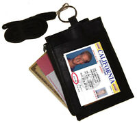 Black Leather ID Badge Holder Neck Strap Card Money Key Lanyard Name Tag Wallet
