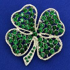 W Swarovski Crystal Clover Shamrock Leaf Lucky Green Brooch Pin Jewelry