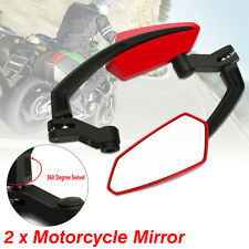 Universal 360° Red Angled Motorcycle Motorbike Rear View Wing Mirrors 6/8/10MM