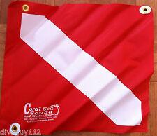 """Diver Down Flag with Stiffener 14"""" x 16"""" PVC Grommets Dive Flag Scuba Diving"""