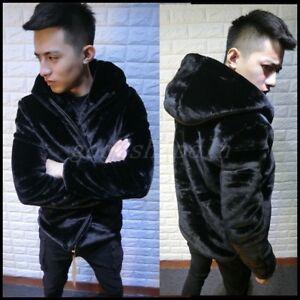 Men Faux Fur Overcoat Winter Thicken Warm Outwear Jacket Hooded Casual Coat New