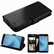 For Samsung Galaxy J7 (2018)/J7 Refine/J7 V 2nd Gen (2018) Black Leather Case