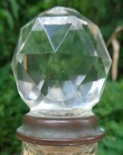 Antique faceted glass DOOR KNOB with brass