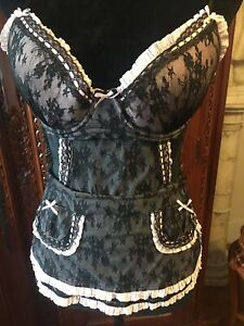 Victoria's Secret Pink And Black  Lace Sexy  Merry Widow, Back Hook, 36C