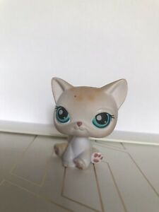 AUTHENTIC Littlest Pet Shop Leopard Cat #224 LPS (Blue Eyes, Red Magnet)