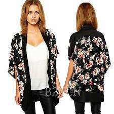 Fashion Women Blouse Floral Splice Chiffon Shawl Kimono Cardigan Cover up Tops