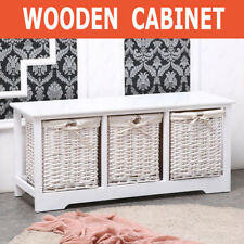 Shabby Chic White Wooden Cabinet Storage Table Unit With 3 Wicker Baskets