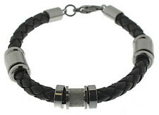 Men's Bracelet Leather Black Braided Edelstahl-Elemente STORCH SCHMUCK Germany
