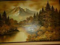 Oil painting W. WARD on canvas, Landscape, Antique