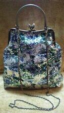 MAX MAYER Sequin Silver Floral Snap Close Handle / Strap Purse Handbag