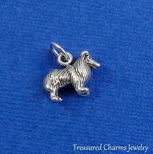 .925 Sterling Silver Collie Dog Charm Shetland Sheepdog Sheltie Pendant
