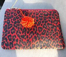 RED ORANGE LEOPARD ANIMAL PRINT MAKEUP/CLUTCH/PURSE BAG PURSE POMPOM TRIM BNWT