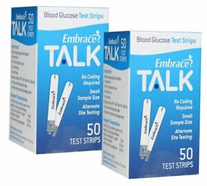 100ct Embrace TALK Blood Glucose Test Strips Exp 01/2022 FREE Shipping!