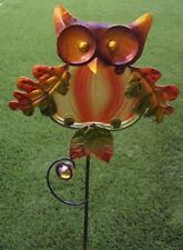 "Garden Lawn Yard Decoration Bird Owl metal & glass pick stake NEW 24"" tall B"