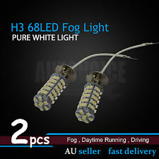 2pcs H3 Super White 68 SMD Xenon 12V Headlight Fog Light DRL Lamp LED Bulbs 3528