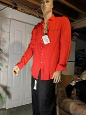 Scapa Sport Collection Linen Shirt Size L Red Garment Dye Made In Portugal