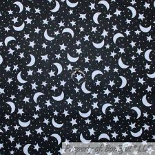 BonEful FABRIC Cotton Quilt Black White B&W Star Moon Kid Magic Halloween SCRAP