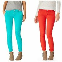 Aeropostale Women's Skinny Twill Pants Casual Trousers Turquoise Red
