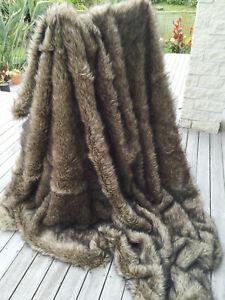 Luxury Faux Wolf / Coyote Fur Blanket /Throw Fake Fur Throw Bedspread 3 Sizes