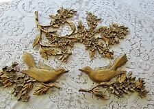 Mid Century Syroco 3 Pc Dogwood Flowers Birds Hollywood Regency Wall Hanging