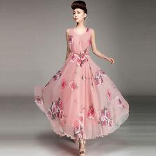 NEW Women Floral Chiffon Dress Summer Boho Evening Party Beach Long Maxi Dress