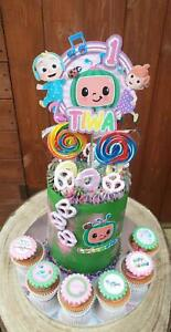 Cocomelon 3D Glitter Themed Personalised birthday cake CARD toppers edible badge
