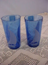 Lot of 2 Vintage Beverage Glasses Cobalt Blue Glass White Sailboats Two Sizes