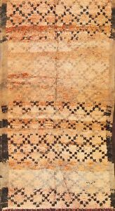Thick-Plush Semi-Antique Moroccan Berber Handmade Trellis Oriental Area Rug 5x10
