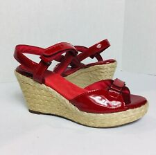 Softwalk Womens Sandals Red Patent Leather Espadrille Wedge Rockabilly Sz 9.5 M