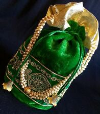 Celebrity Style Green Velvet Potli Clutch Drawstring Bag-India Wedding Accessory