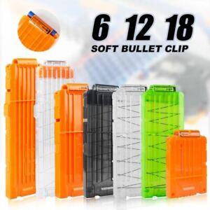 6-12-18 Orange Reload Clip For Nerf Magazine Round Darts Replacement Toy Gun Sof