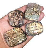 Natural Carved Labradorite 4 Pcs Superb Colors Fiery Loose Gemstones 38mm-44mm