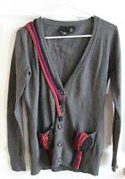 Nick & Mo Anthropologie Gray Cardigan Sweater w/ Multicolor Detail, Size Medium