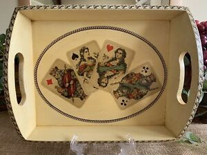 Decoupage Wood Tray, Lacquered. Vintage Playing Cards