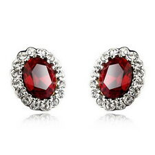 White Gold Filled Ruby Red Oval Stud Earring Made With Swarovski Crystal IE125