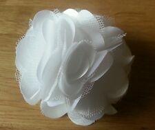 """Girls Womens 3""""satin & Net Full Flower Hair Clip, Brooch, corsage..WHITE"""