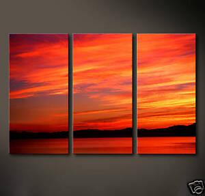 SKY HIGH Leinwand Bilder Kunst Sunset Rot Gelb Orange Abstraktes Grafik Druck