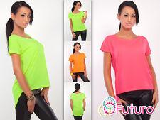Trendy Womens Top Assymetric Hem Short Sleeve Boat Neck T-Shirt Size 8-12 8329