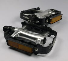 "WELLGO M20 M-20 PEDALS 9/16"" BLACK SILVER 256g PAIR BMX MTB ROAD BIKE Aluminum"