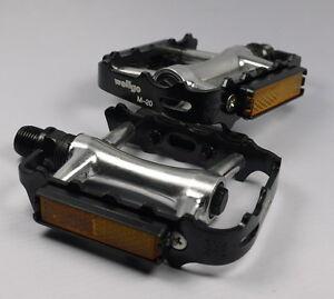 "WELLGO M20 M-20 PEDALS 9/16"" BLACK SILVER 256g PAIR BMX MTB ROAD BIKE Aluminum"