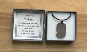 BEST MAN GIFT USHER PAGE BOY SILVER DOG TAG PERSONALISED THANK YOU SON KEEPSAKE