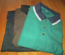 Golf Shirt Fancy Contrast Collar 2XL 5 Pc Lot 3 Color 100 % Cotton Jade Spruce