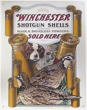 WINCHESTER SHOTGUN SHELLS SOLD HERE - HUNTING - COLLECTIBLE TIN METAL SIGN
