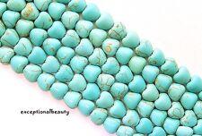 58 Magnesite Stone B Grade Turquoise Flat Puffed 8mm Heart Rock Strand Beads