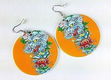 "Orange Chinese Tiger Drop Earrings Detailed Asian Art Design 2"" Round Dangle"