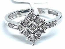 Art Deco Style Diamond Ring Set in Silver   0.10cts    Size P