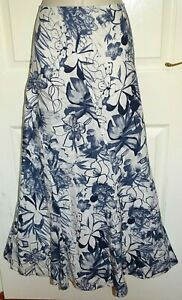 M&S PER UNA Long Navy Blue White Linen Fit & Flare Gypsy Boho Maxi Skirt Size 18